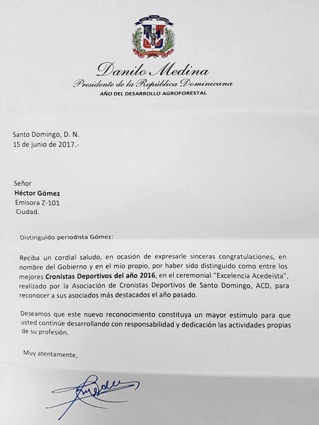 CARTA DE RECONOCIMIENTO DEL PRESIDENTE